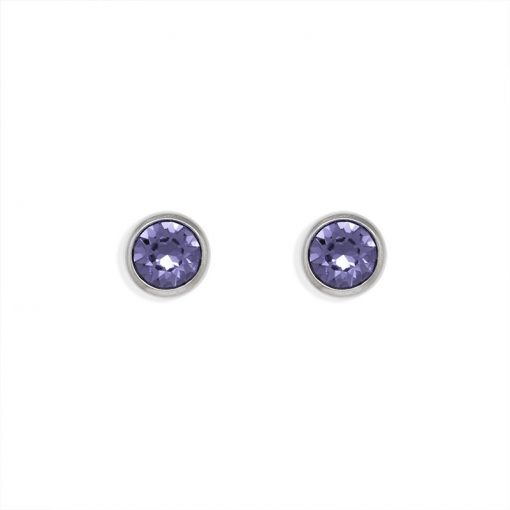 15SWE008 - ARETES PLATA BOUMEX .925 LILAC EMBELLISHED WITH CRYSTALS FROM SWAROVSKI™