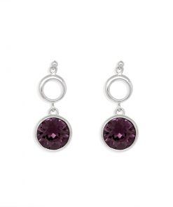 17SWSE013 - ARETES PLATA BOUMEX .925 RUBY EMBELLISHED WITH CRYSTALS FROM SWAROVSKI™