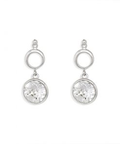 17SWSE013 - ARETES PLATA BOUMEX .925 WHITE EMBELLISHED WITH CRYSTALS FROM SWAROVSKI™