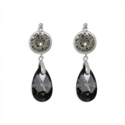 13SWSE030F - ARETE PLATA BOUMEX .925 BLACK EMBELLISHED WITH CRYSTALS FROM SWAROVSKI™