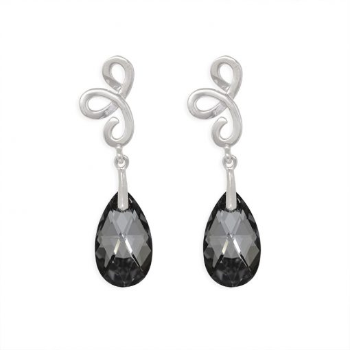 16SWSE029A - ARETE PLATA BOUMEX .925 BLACK EMBELLISHED WITH CRYSTALS FROM SWAROVSKI™